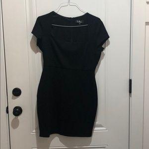 Lulus Square Neck Black Dress Size Large NWOT